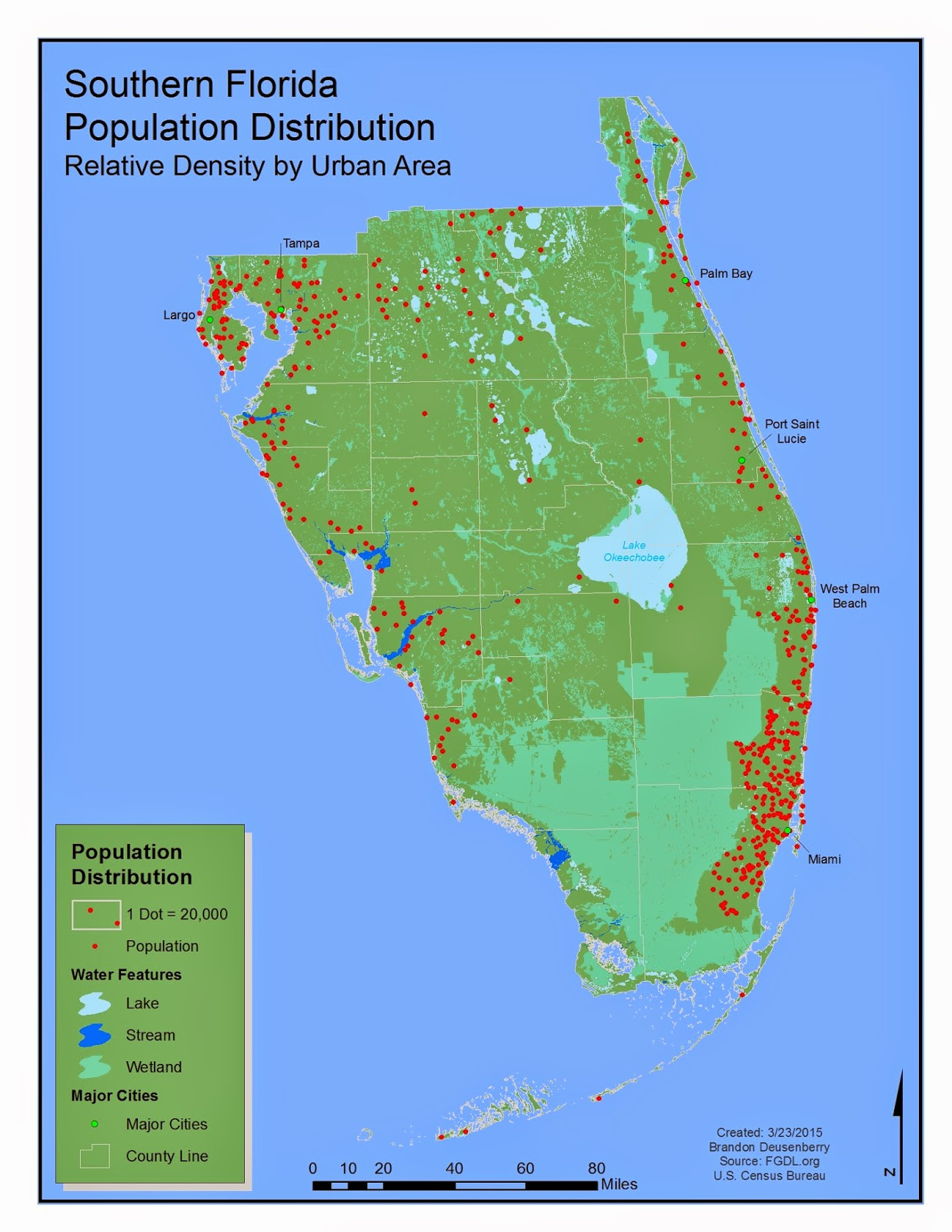 here is my southern florida population distribution map i ve tried to make it as simple a map as possible it is essentially just dots and legend