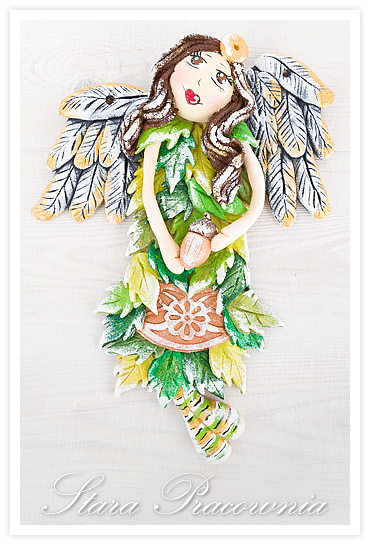 anioł z masy solnej, figurki z masy solnej, salt dough angel