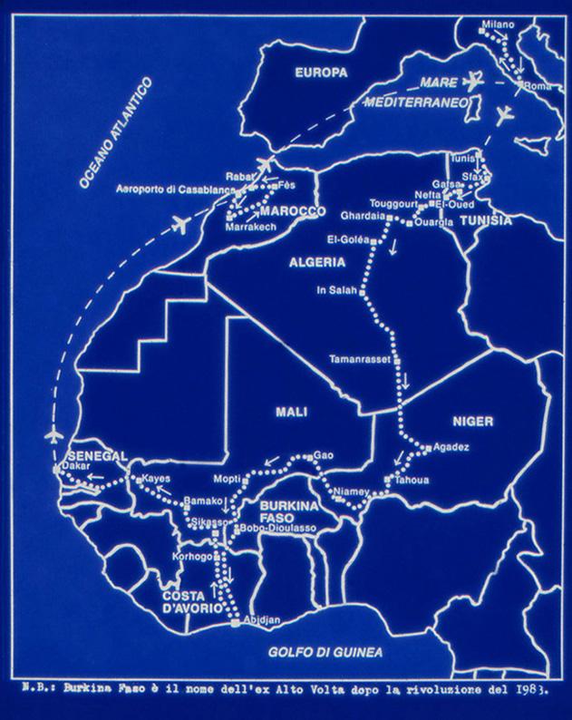 L'itinerario di GIORGIO CÀERAN con lo zaino, durato 57 giorni (1984-'85).