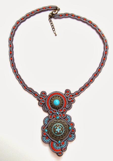 naszyjnik sutasz soutache necklace  11b