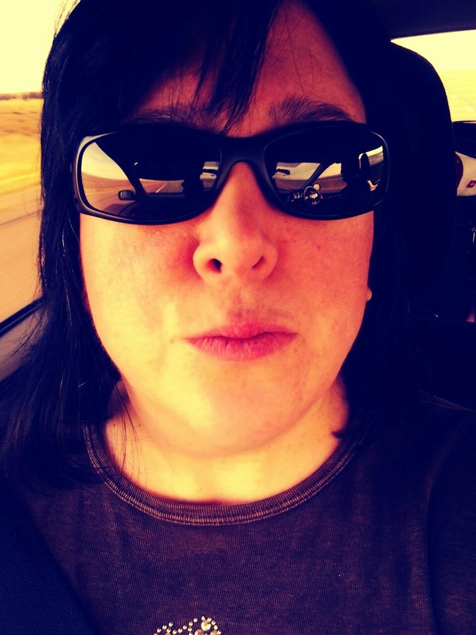 Selfie on the road. Kiss.