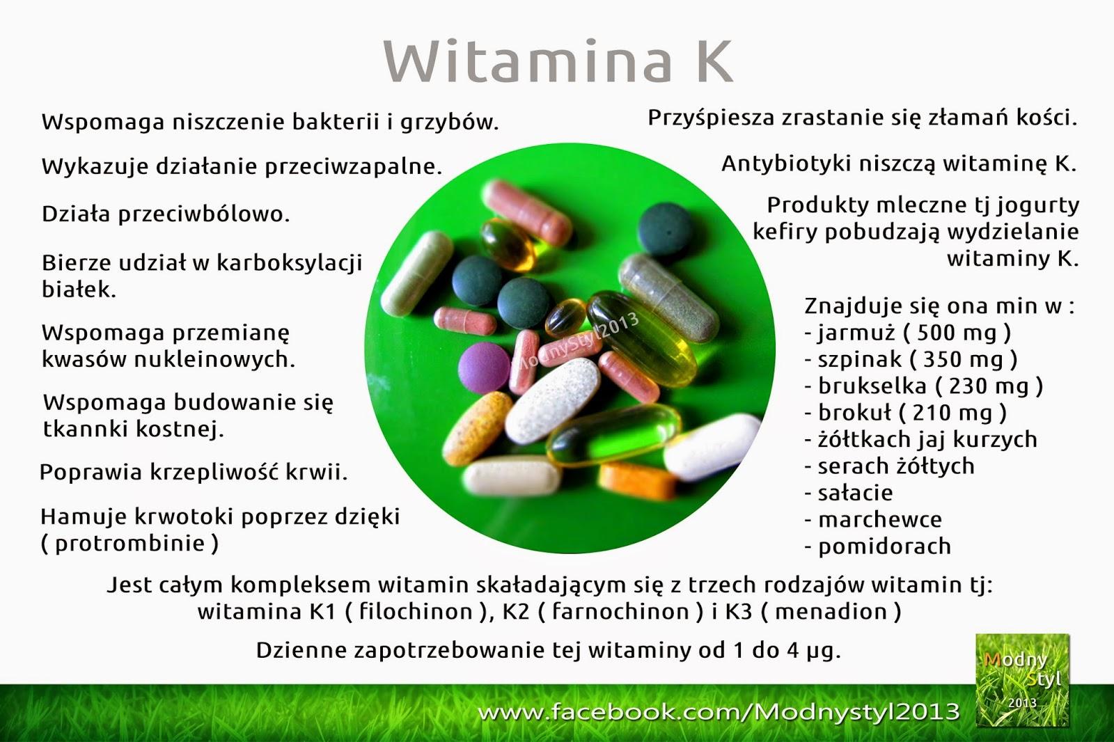 Witamina K czyli K1, K2 oraz K3