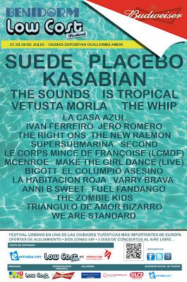 LowCost low cost alicante benidorm Placebo Kasabian Cartel fechas dias grupos artistas horarios festivales