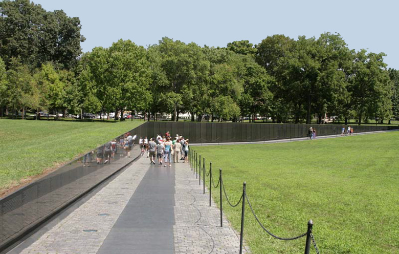 Charmant The Memorial, Designed By Maya Lin, Consists Of A Black Granite V Shaped  Wall Inscribed With The Names Of The More Than 58,000 Americans Who Were  Killed Or ...