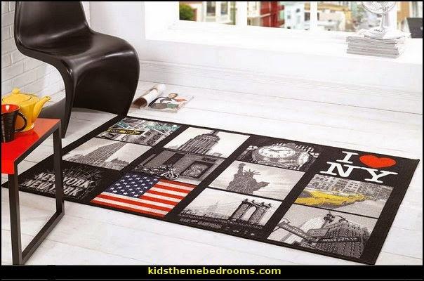 I Love Ny New York Big Apple Design Washable Black Grey Rug