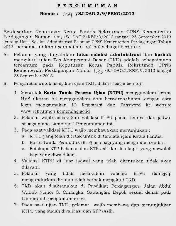 Pengumuman CPNS Seleksi Administrasi CPNS Kementerian Perdagangan