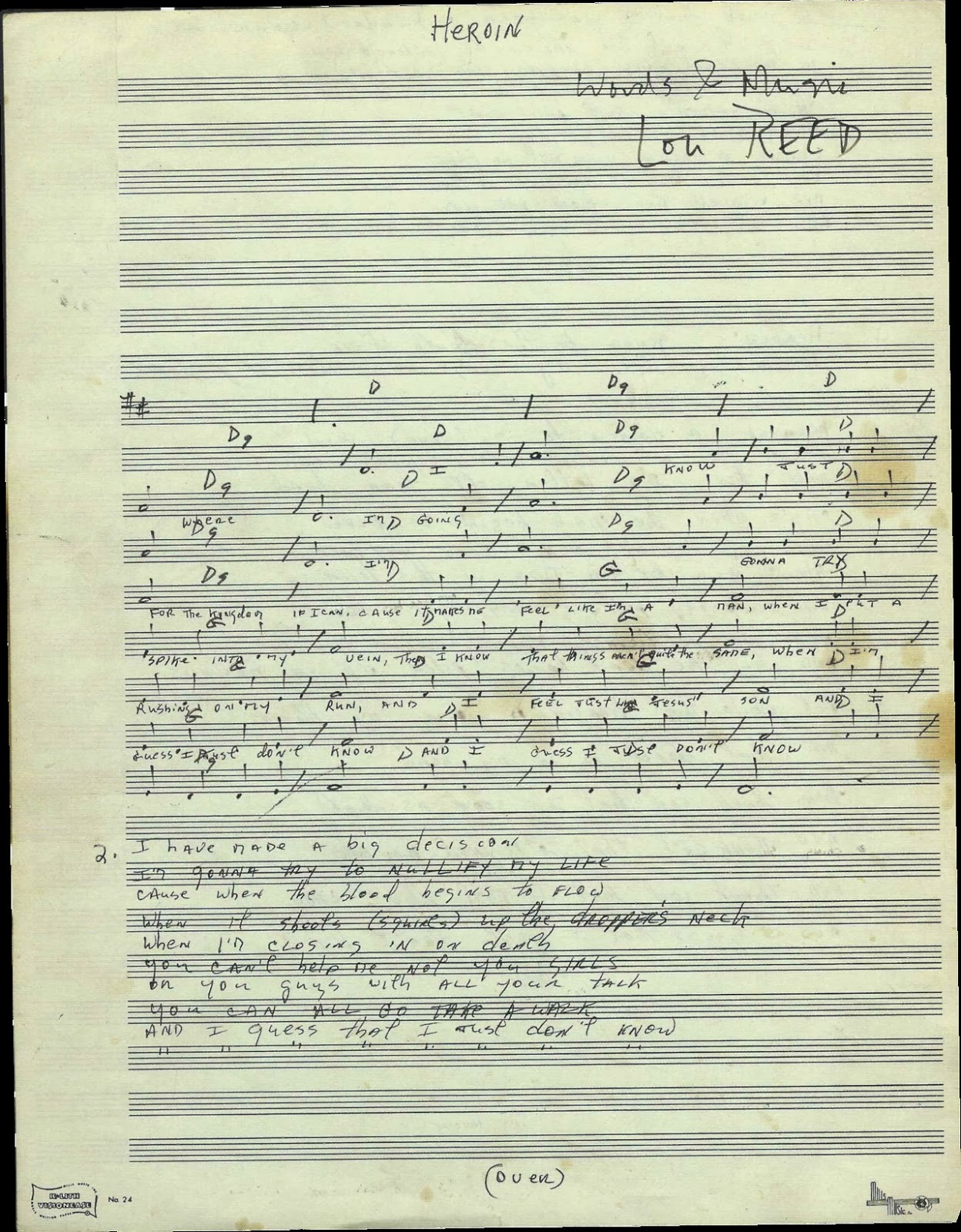 Lou reeds compositional manuscript with chords and lyrics to lou reeds compositional manuscript with chords and lyrics to heroin vintage everyday hexwebz Image collections