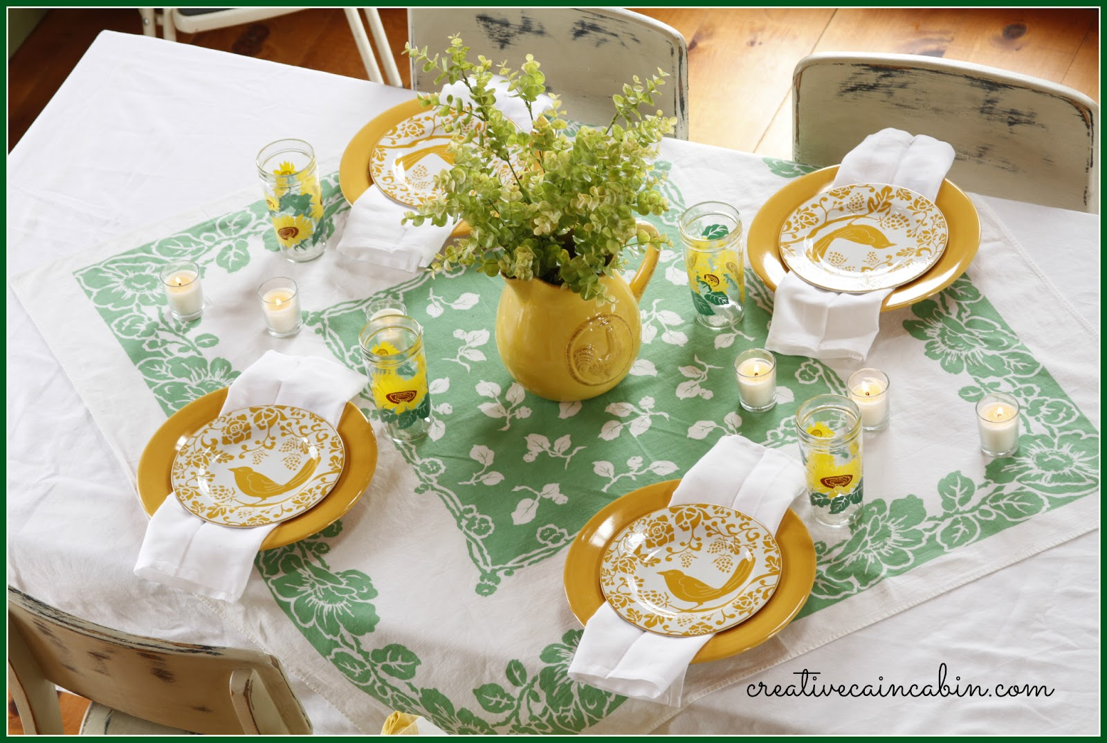 I looked around the house and found all the things that fit into the green and yellow theme I was going for and if I found it in a vintage item ... & St. Patricku0027s Day Table Setting - CREATIVE CAIN CABIN