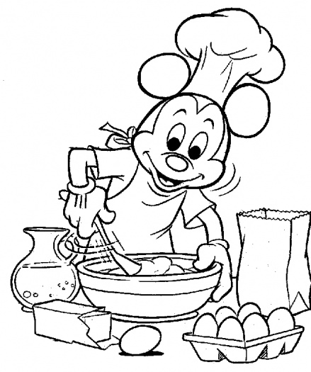 Mickey Mouse And Minnie Mouse Cooking Coloring Pages