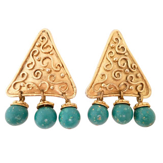 Vintage gold triangle shaped earrings with turquoise dangling beads