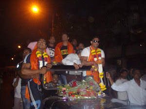 Competing Bodybuilders in Carnival procession.