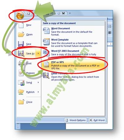 Gambar: Cara publikasi dengan jalan konversi atau menyimpan file microsoft word (.docx) ke File PDF atau XPS