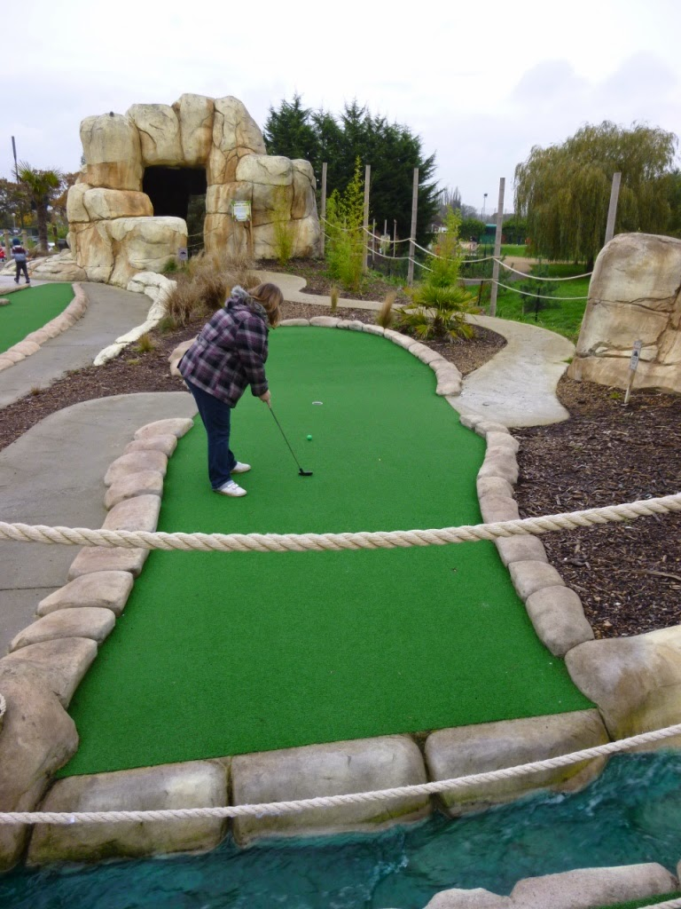 Helen 'Hells Bells' Dodd easily handling a water hazard hole at the Jungle Island Adventure Golf course in Epsom