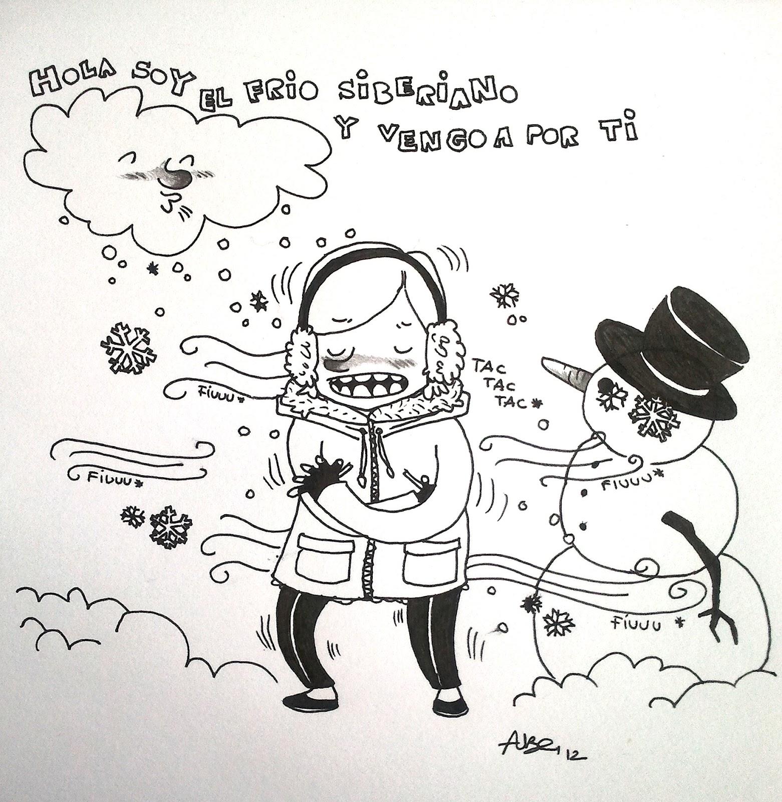 Dibujos en un cuaderno: Maldito frío