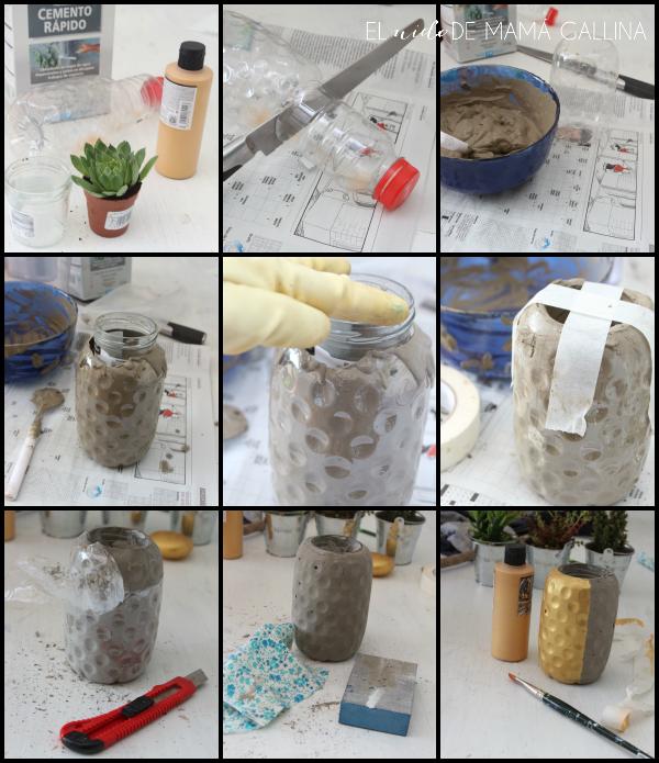 piña macetero de cemento