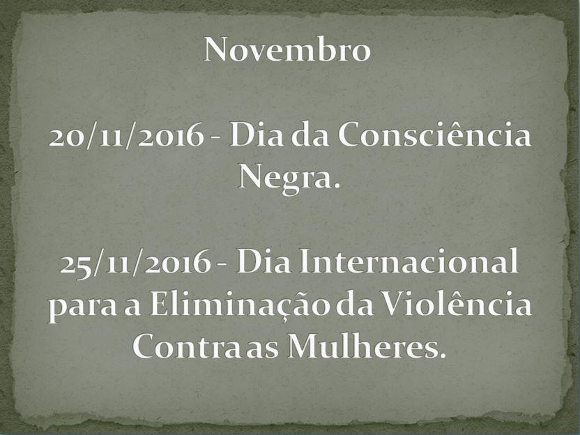 Mês de Novembro