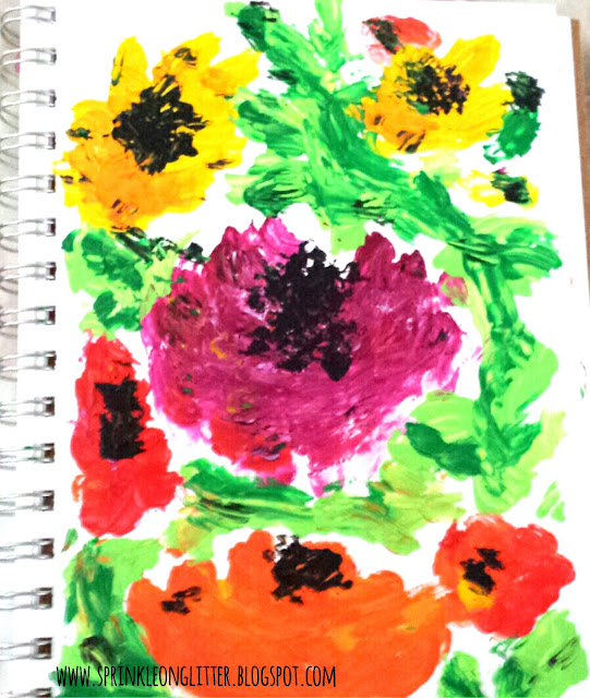 Poppies- finger painting- Alisa Burke- write 31 days