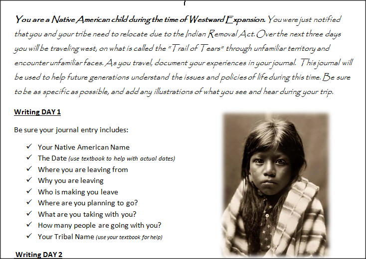 native american journal entry