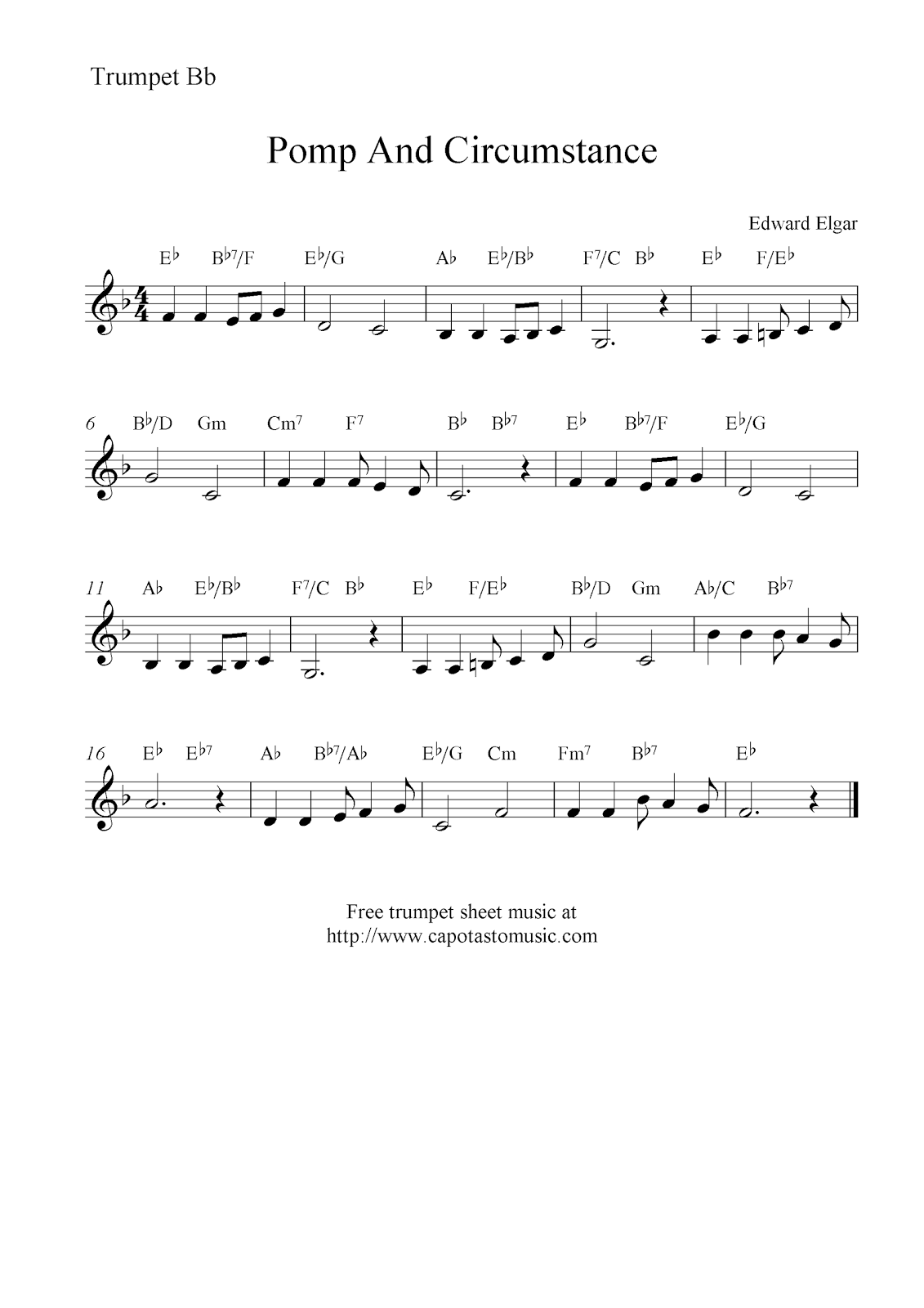 Land of hope and glory free trumpet sheet music notes