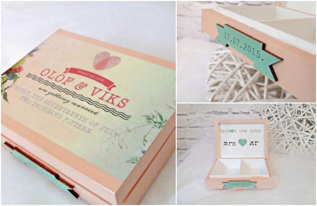 Pudełko na obraczki w pastelach i stylu boho. Wedding ring box Eco Manufaktura.