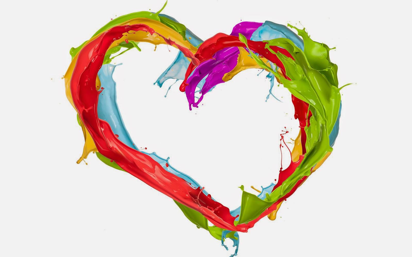 Achtergrond met liefdes hartje gemaakt van verf
