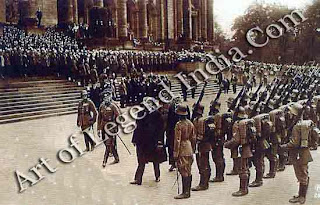 President Hindenburg on duty, On 12 May 1925, Field-Marshal von Hindenburg was formally sworn in as the new Reichspresident in the Reichstag building. His victory over the Russians at Tannenberg and the Masurian Lakes in 1914 had elevated him to the status of national hero and for the last year of the war he had been effectively in control of German civil and military policy. With defeat came revolution, the establishment of the Weimar Republic and the resultant tensions between the rightist old guard and the stirrings of leftist change. Hindenburg, already in his late seventies, had little influence on policy during his two terms as president; his acceptance of Hitler as Chancellor in 1933 spelt the end of the Republic. Here the newly appointed Reichspresident inspects a military parade after leaving the Reichstag.