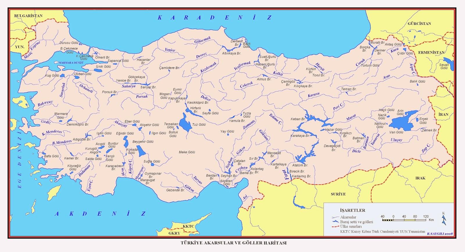 Türkiye Akarsular Göller ve Barajlar Haritası