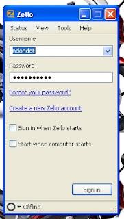 cara login ke Zello