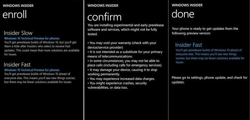 Windows 10 phone preview enroll process