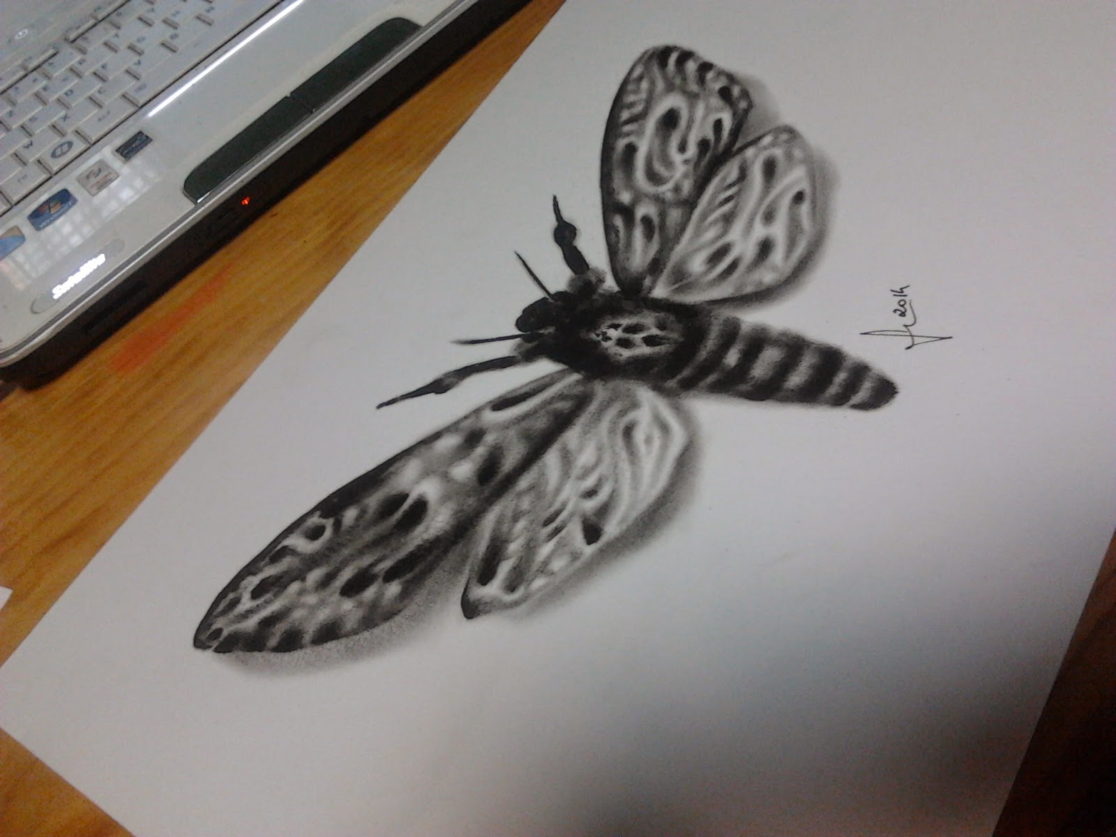 esboço para tatuagem em drybrush e caneta preta - borboleta inspirada no silêncio dos inocentes / Butterfly inspired on Silence of the lambs handmade in drybrush and black pen