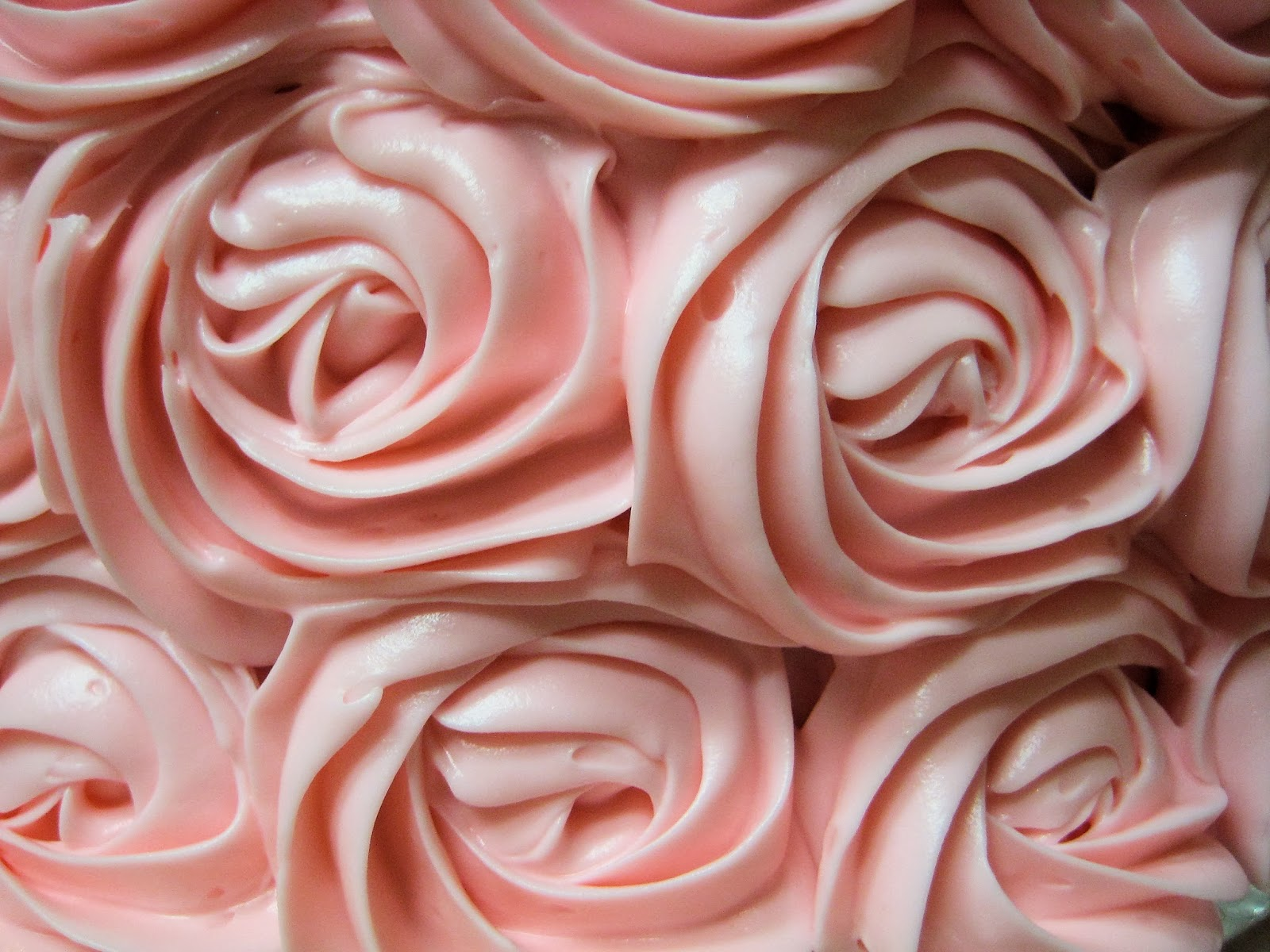 Shabby Chic Baby Shower Pink Rose Cake - Close-Up View of Roses