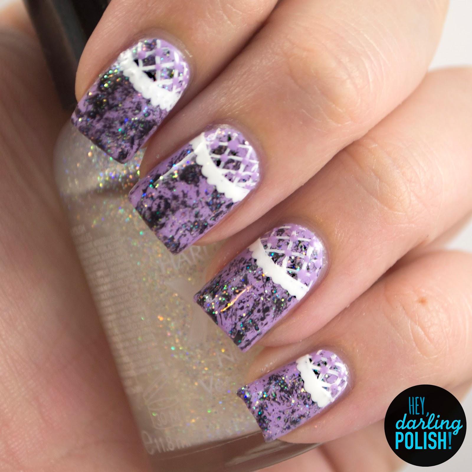 nails, nail art, nail polish, polish, lilac, white, lace, black, sparkle, golden oldie thursdays, hey darling polish