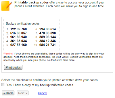 Backup Verification Codes