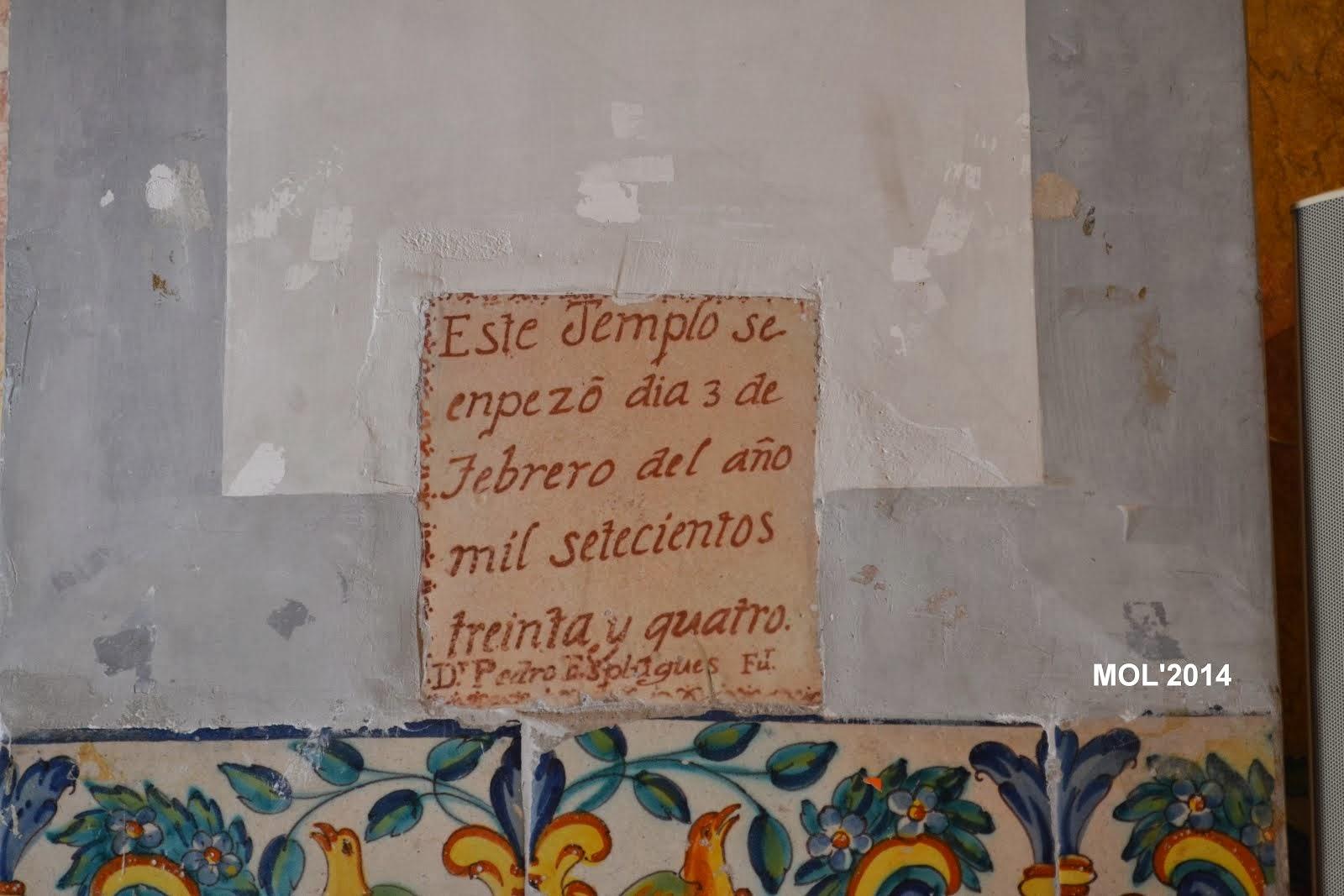 HOY DÍA 3 DE FEBRERO, SE CUMPLEN 280 AÑOS QUE SE EMPEZÓ A CONSTRUIR LA PARROQUIA 1734 2014