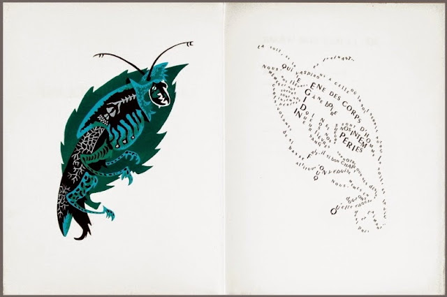Jean Lurçat bestiary : semi-abstract gouache + lithograph