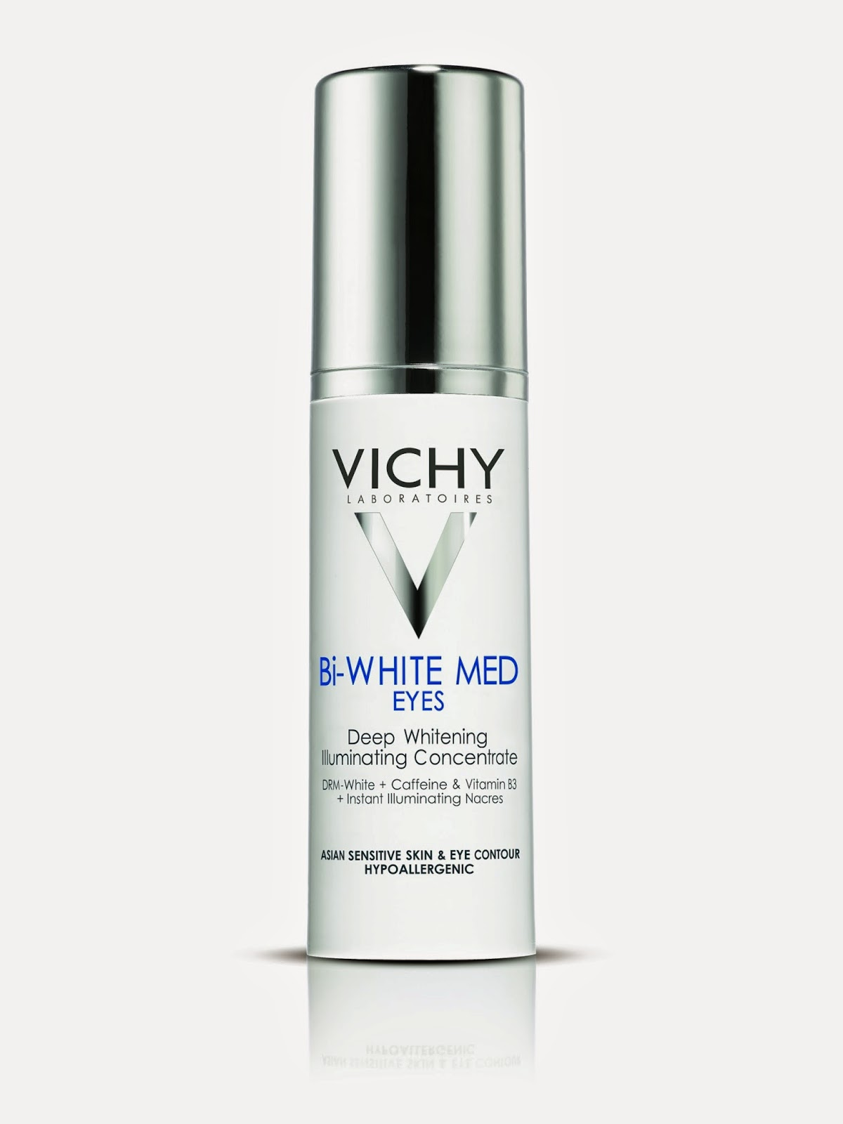 VICHY Bi-White MED Eyes - Bi WHITE MED Eyes is the first illuminating concentrate for an instant and lasting eye look transformation. The deep action of a whitening essence for the 1st time associated with the immediate enlightening power provided by illuminating nacres, to correct in one gesture every eye contour complexion flaws.