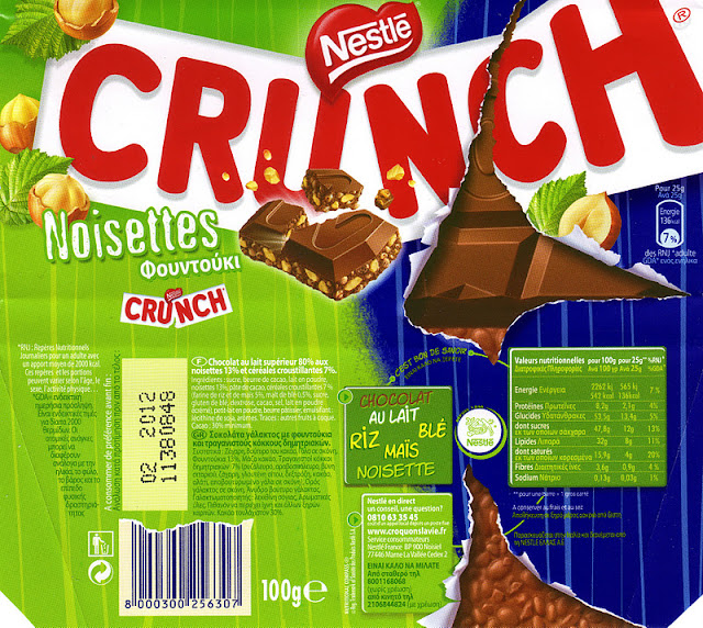 tablette de chocolat lait gourmand nestlé crunch noisettes