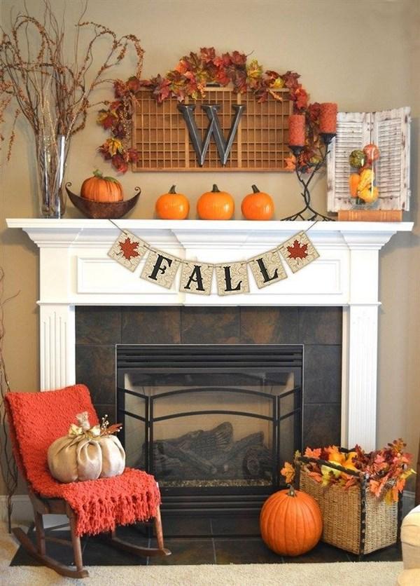decoración de otoño chimenea