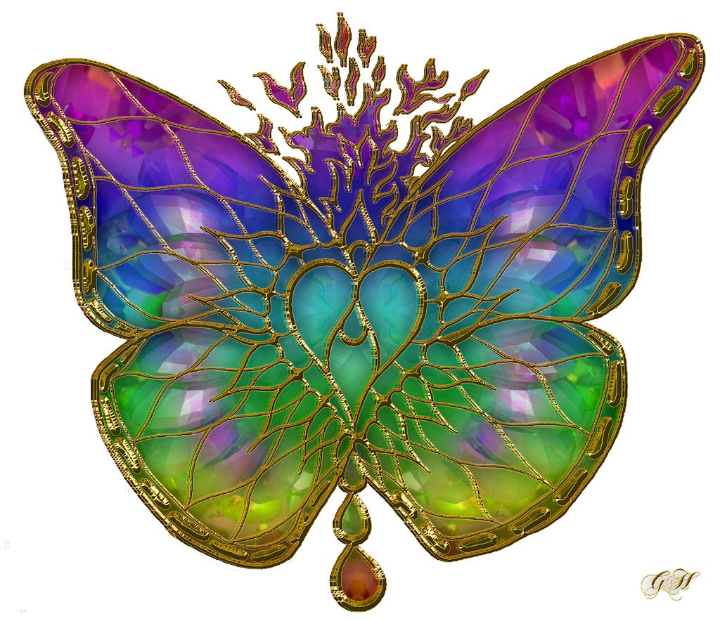 7. Rainbow colored butterfly