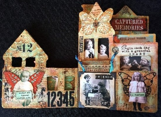 Altered children's book using DecoArt products, pages 2 and 3.