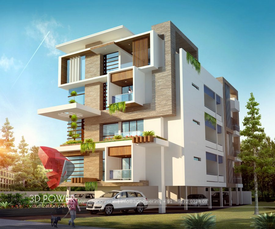 Corporate building design 3d rendering corporate for Residential house design