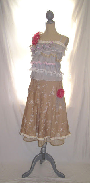 Up-Cycled long women's maxi dress adjustable straps handmade rosettes lace ruffles