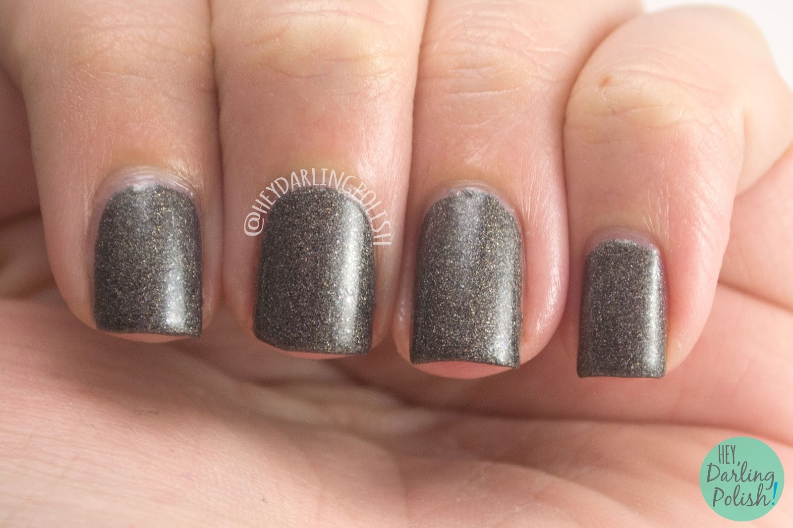nails, nail polish, indie polish, indie nail polish, hey darling polish, black dahlia lacquer,  queen of the night, grey, holo, halloween