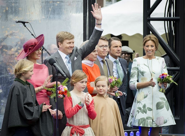 King Willem-Alexander, Queen Maxima and their daughters Princess Amalia, Princess Alexia and Princess Ariane, Prince Bernhard, Princess Annette, Prince Constantijn, Princess Laurentien, Prince Pieter-Christiaan, Princess Anita, Prince Maurits and Princess Marilene