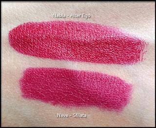 Nabla Cosmetics - Diva Crime Lipsticks - Alter Ego - Confronto con la Pastello labbra Sfilata di Neve Cosmetics