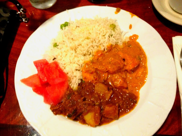 Chicken Tikka Masala, Lamb Vindaloo, Basmati Rice and watermelon