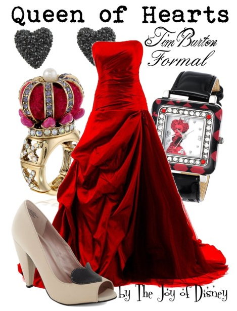 disney prom, prom outfit, prom dress, alice in wonderland, queen of hearts tim burton