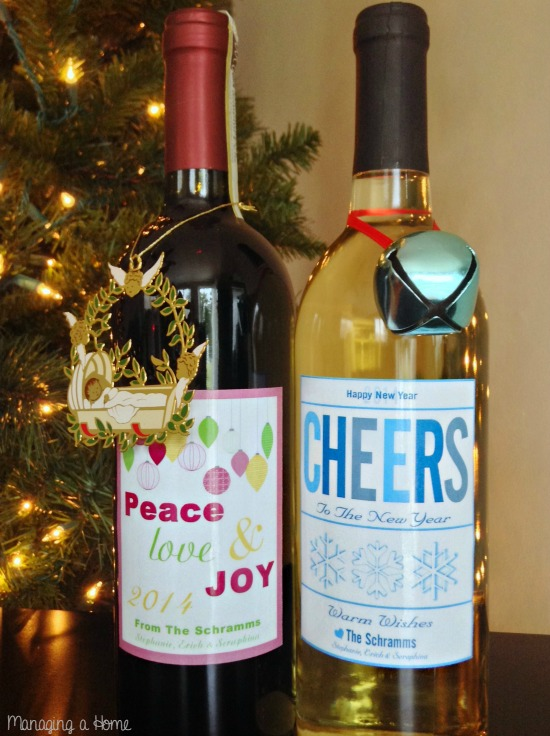 Holiday Hostess Gift Ideas with Wine. Enter to win your own Personalized Holiday Wine Labels   Managing a Home