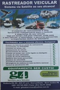 Rastreador veicular/ G4 serviços para seu veículo.. 81 3629 2048 na Encruzilhada de Bom Jardim - PE