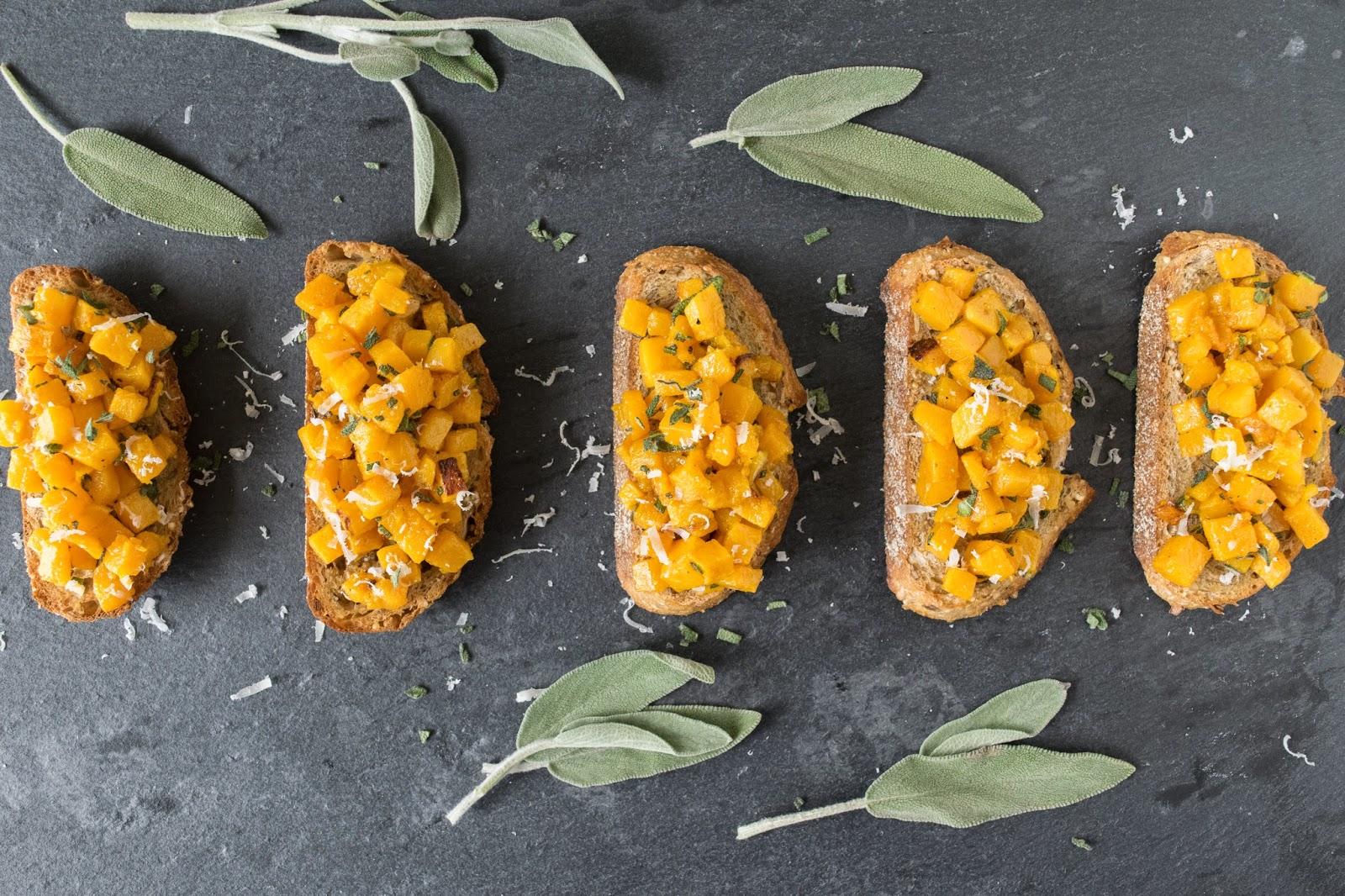 Roasted butternut squash bruschetta by Janette Fuschi @CulinaryGinger ...